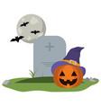 halloween pumpkin on cemetery vector image vector image