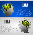 head with brain logic letters voice vector image vector image