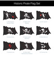 historic pirate waving jolly roger set vector image vector image