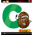 letter c with coconut cartoon vector image vector image