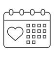 love calendar thin line icon valentine and vector image vector image