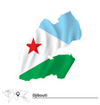 Map of Djibouti with flag vector image vector image