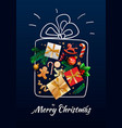 merry christmas doodle gift box vector image