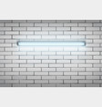 neon lamp on white brick wall vector image vector image
