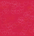 pink hearts pattern on crimson background vector image vector image