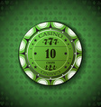 Poker chip nominal ten on card symbol background vector image vector image