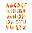 Retro font in red and yellow Beige alphabet vector image