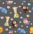 seamless pattern with cute african animals vector image