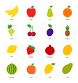 set color fruit icons and berry icons vector image