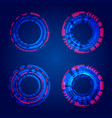 set hud circles technology blue circles vector image