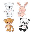 set little tiger cub tiger cub and panda hand vector image vector image