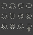 set of minimalistic teeth with different diseases vector image
