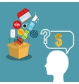 silhouette head man thinking offer shop vector image
