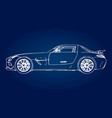 sketch of a modern sports car on a blue background vector image vector image