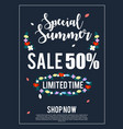 special summer sale banner for advertisement vector image vector image