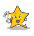 star character cartoon style with megaphone vector image vector image