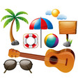 summer set with guitar and other elements vector image