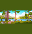 tents camping area in forest summer camp concept vector image