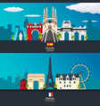 travel to spain and france skyline flat vector image vector image