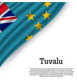 waving flag of tuvalu vector image vector image