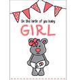 Cute baby bear card vector image