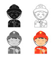 fireman icon cartoon single silhouette fire vector image