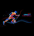 3d football player with neon light lines vector image vector image