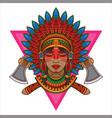 apache girl logo vintage vector image