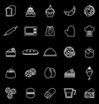 Bakery line icons on black background vector image vector image