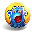 blue monster on yellow badge vector image