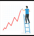 businessman draws a growth chart standing vector image