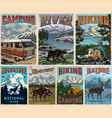 camping and summer recreation posters set vector image vector image