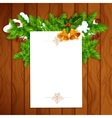 Christmas card with blank paper and holly berry vector image vector image