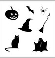 collection halloween silhouettes icon vector image vector image