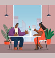 couple people sitting at table in office dining vector image vector image