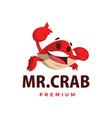 crab thumb up mascot character logo icon vector image vector image