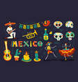day dead mexico set vector image