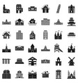 different building icons set simple style vector image vector image