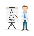 doctor ophthalmologist shows a pointer to the text vector image vector image