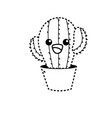 dotted shape kawaii cute tender cactus plant vector image vector image