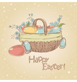 easter card with basket full painted eggs vector image