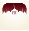 eid mubarak background with mosque and text space vector image vector image