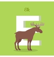 Elk with Letter E Isolated ABC Alphabet vector image vector image