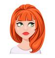 facial expression of a redhead woman - sad unhappy vector image vector image