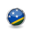 flag of solomon islands button with metal frame vector image vector image