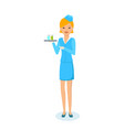 girl in clothes of stewardess carries tray vector image