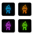 glowing neon barbecue grill icon isolated on vector image