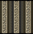 gold 3d greek key meander borders seamless vector image vector image