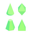 green isolated prisms set on white background vector image vector image