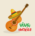 guitar with mexican hat vector image vector image